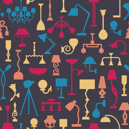 Vector seamless pattern with lamps. Can be used for textile, website background, book cover, packaging.