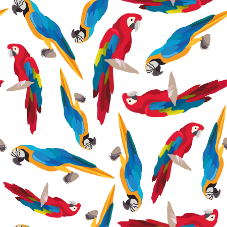 Seamless colorful tropical pattern with parrot bird. Can be used for textile, website background, book cover, packaging. Illustration