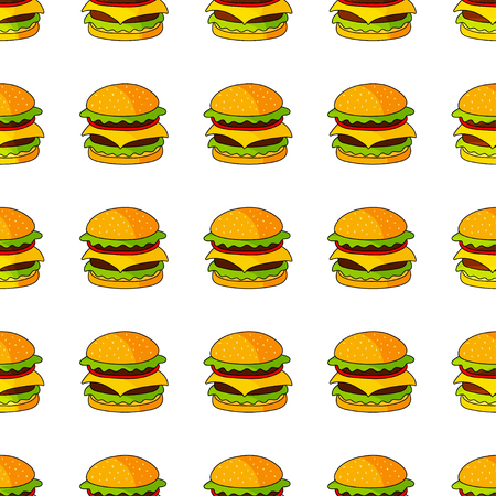 dog: Vector seamless pattern with hamburger. Can be used for textile, website background, book cover, packaging.