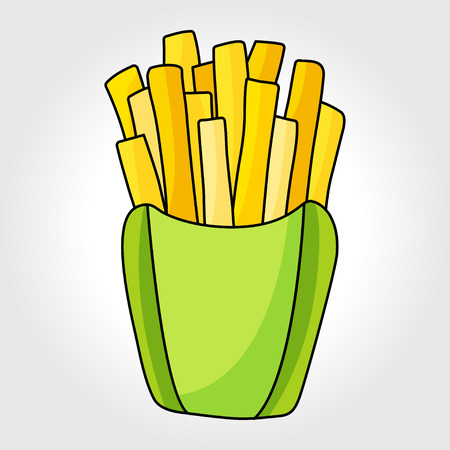 carbohydrate: French fries in paper box vector icon. Design elements.
