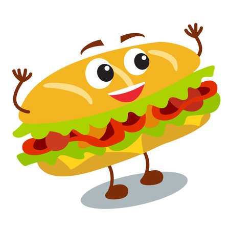 Funny, lindo sándwich de comida rápida con la cara sonriente humanos aislados sobre fondo blanco. Ilustración del vector para el menú del restaurante de los cabritos. Icono poco saludable americano del almuerzo para su diseño lindo. Foto de archivo - 81969551