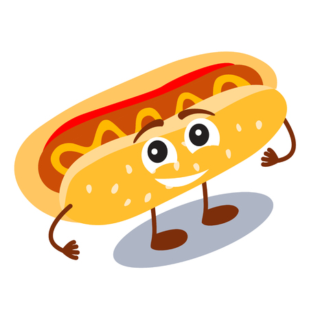 Funny, cute fast food hot dog with smiling human face isolated on white background. Vector illustration for kids restaurant menu. American unhealthy lunch icon for your cute design.