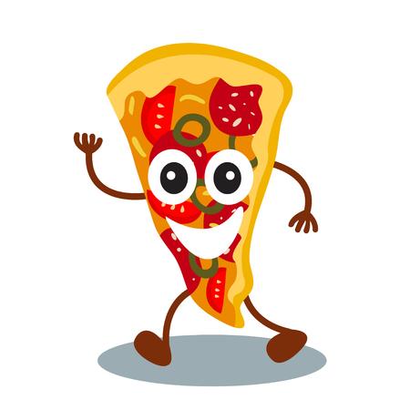 Pizza divertida, linda de la comida rápida con la cara humana sonriente aislada en el fondo blanco. Ilustración del vector para el menú del restaurante de los niños. Icono americano almuerzo saludable para su diseño lindo. Foto de archivo - 81970005
