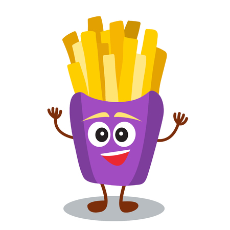fried: Funny, cute fast food french fries with smiling human face isolated on white background. Vector illustration for kids restaurant menu. American unhealthy lunch icon for your cute design.