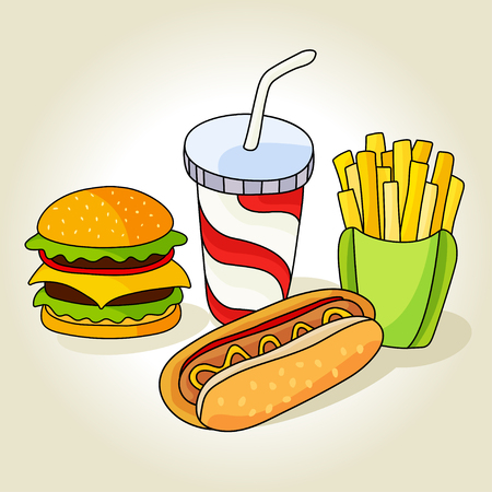 peppar: Fast food set. Hamburger, french fries, hot dog and soft drink in cup with straw.  Vector illustration for your cute design.