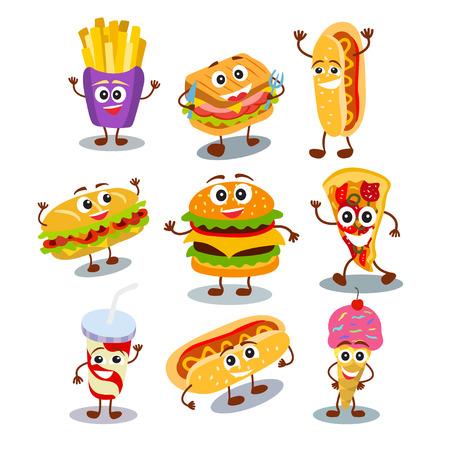面白い、可愛いファーストフード ハンバーガー、サンドイッチ、ホットドッグ、ピザ、アイスクリーム、フライド ポテト、白い背景に分離された人
