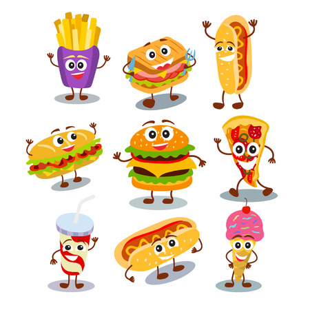 Funny, cute fast food hamburger, sandwich, hot dog, pizza, ice cream, french fries, drink in cup with smiling human face isolated on white background. Vector illustration for kids restaurant menu. Illustration