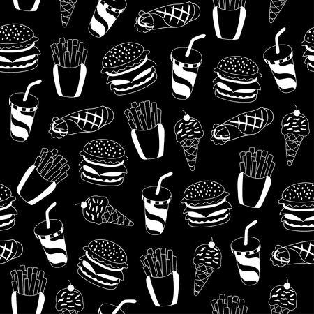 be: Fast food pattern. Can be used for textile, website background, book cover, packaging.