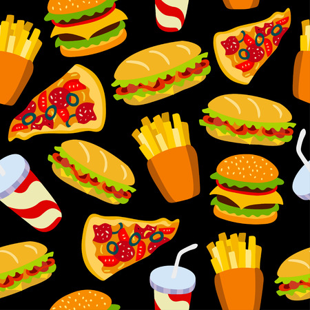 be: Fast food pattern on a black background. Can be used for textile, website background, book cover, packaging. Illustration