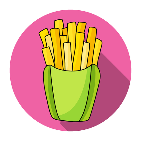 French fries in paper box vector icon. Design elements.