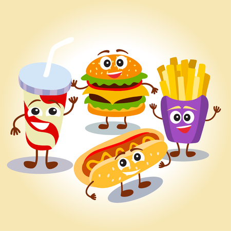 Funny, cute fast food hamburger,  french fries, lemonade, hot dog with smiling human face. Vector illustration for kids restaurant menu. Illustration
