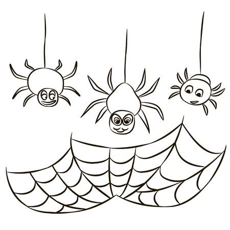 Halloween zwart spinnenweb en drie spinnen