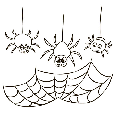 Halloween black spider web and three spiders Illustration