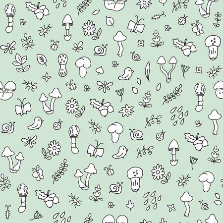 bee on flower: Autumn forest doodle pattern Illustration