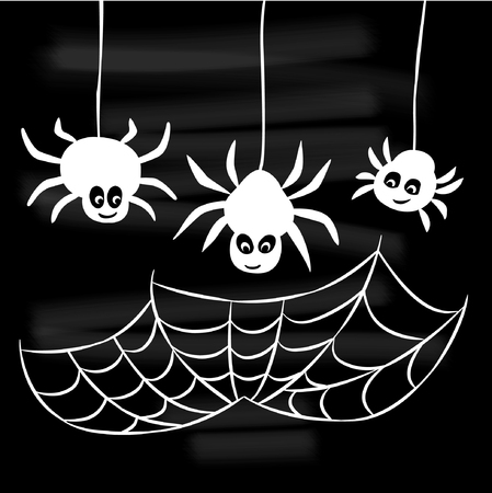 Halloween set of spider web and three spiders Illustration