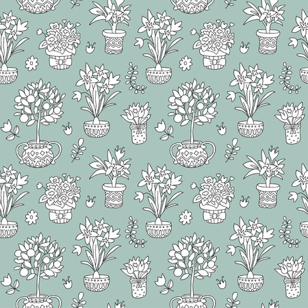 Seamless pattern doodle plants in pots, floral background. Beautiful vector design.