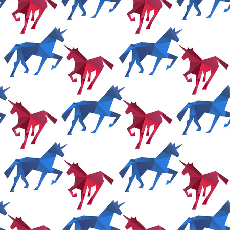 Unicorn seamless pattern. Endless texture can be used for wallpaper, pattern fill, web page background. Polygon style.