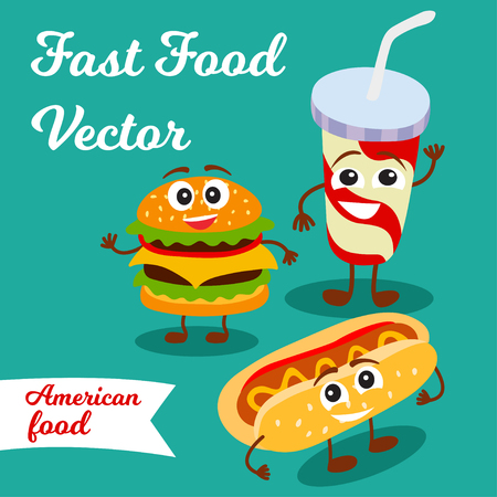 Card with fast foods. Illustration