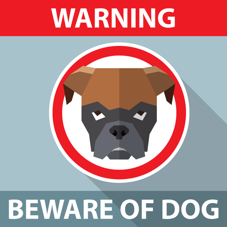 Beware of the dog sign. Vector illustration for your cute design.