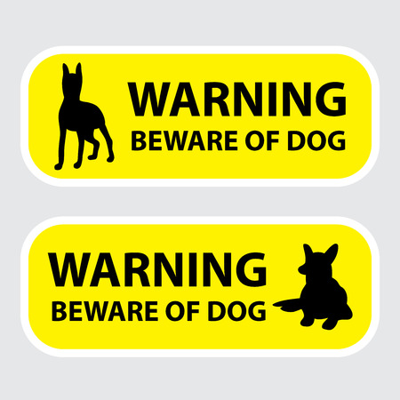 Beware of the dog sign on yellow background. Vector illustration for your cute design.