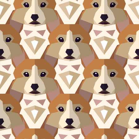 Seamless polygonal pattern with welsh corgi head. Vector background for your design. Can be used for textile, website background,  book cover, packaging.
