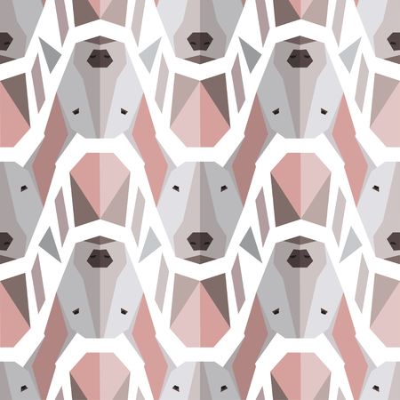 Seamless polygonal pattern with bullterrier head. Vector background for your design. Can be used for textile, website background, 