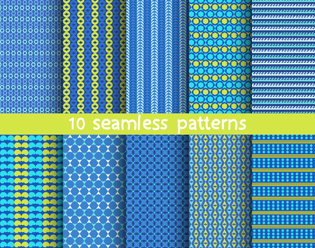 10 seamless patterns for universal background. Endless texture can be used for wallpaper, pattern fill, web page background. Vector illustration for web design.