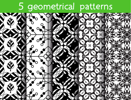 5 monochrome seamless patterns for universal background. Endless texture can be used for wallpaper, pattern fill, web page background. Vector illustration for web design.