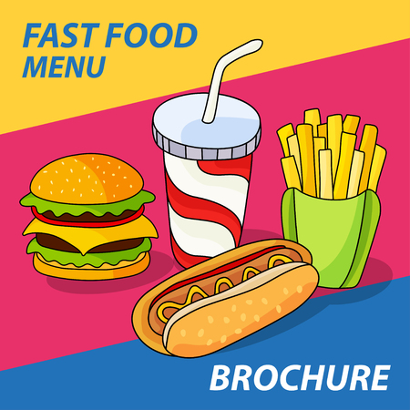 Fast food set. Hamburger, french fries, hot dog and soft drink in cup with straw on bright striped background. Vector illustration for your cute design.