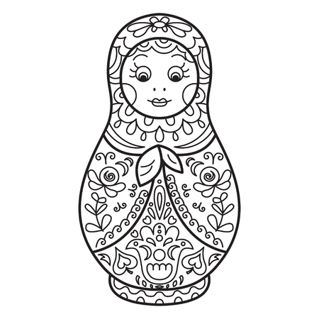 Russian traditional nested doll (matryoshka). Black and White Illustration. Template for style design.