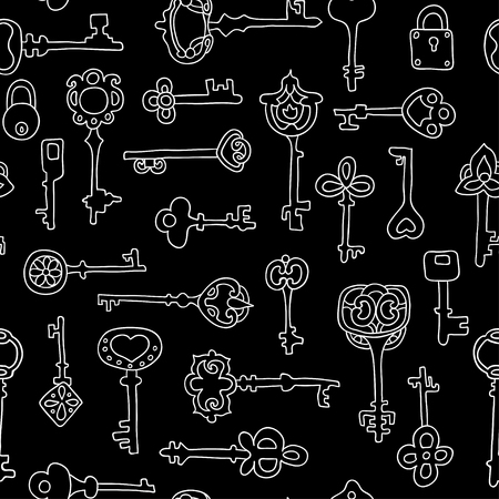 Seamless pattern with vintage keys. Textures for wallpaper, fills, web page background.