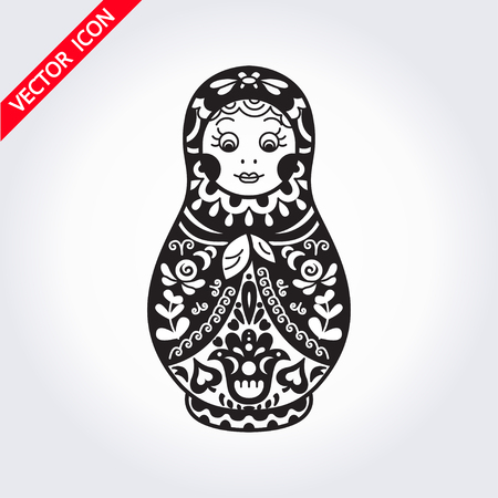 Russian traditional nested doll (matryoshka). Black and White Illustration. Symbol of Russia. Template for style design.