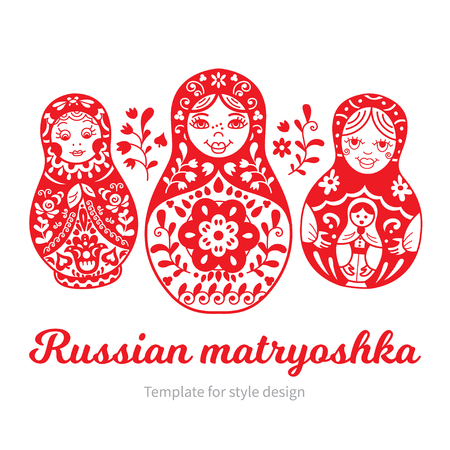 Set of Russian traditional nested dolls (matryoshka). Black and White Illustration. Template for style design.