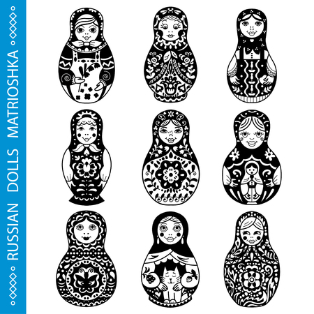 Set of Russian traditional nested dolls (matryoshka). Black and White Illustration. Template for style design.   Ilustração