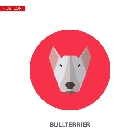 Bullterrier head vector flat icon on turquoise circular background. It can be used as - logo, pictogram, icon, infographic element.