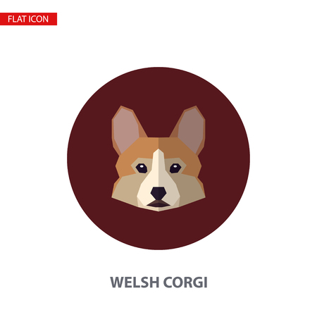 Welsh corgi head vector flat icon on turquoise circular background. It can be used as - logo, pictogram, icon, infographic element. Illustration