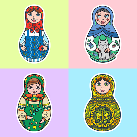 Set of Russian traditional nested dolls (matryoshka). Template for style design.