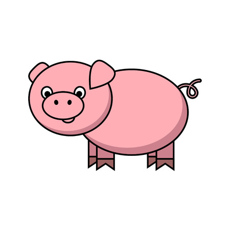 Little funny pig cartoon. Vector illustration for your cute design.