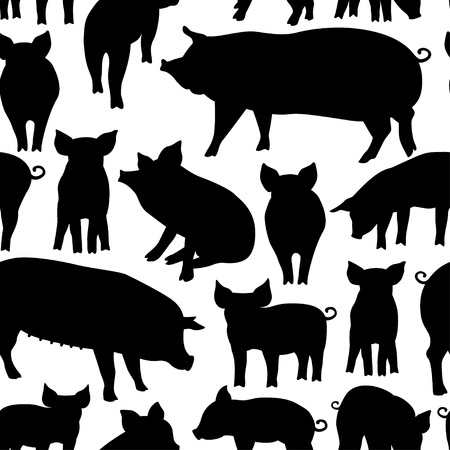 Vector seamless pattern with pig on white background. Can be used for textile, website background, book cover, packaging.