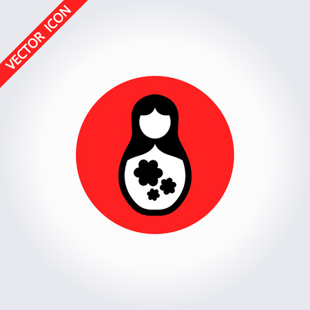 Vector illustration of nested doll (matryoshka). Symbol of Russia. Template for style design.