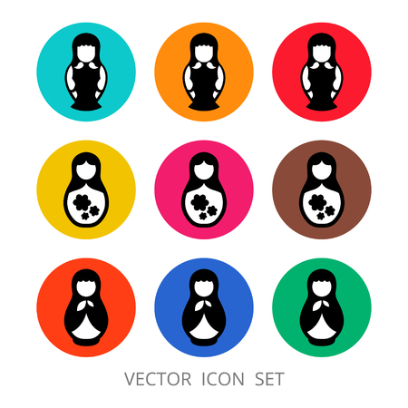Vector icon of nested doll (matryoshka). Symbol of Russia. Template for style design.
