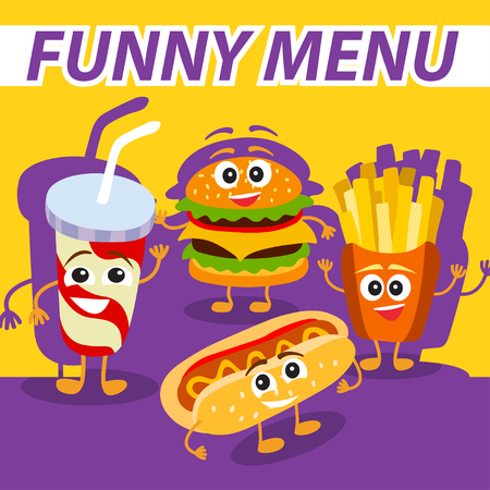 Vector funny, cute fast food with smiling human face for kids restaurant menu. Colorful template for you design, web and mobile applications.