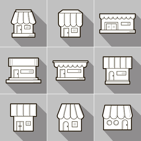 Set of 9 store front icons. Flat design. It can be used as - logo, pictogram, icon, infographic element. Vector illustration for your cute design. Ilustração