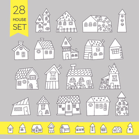Cute House Set. Hand drawn house. It can be used as - logo, pictogram, icon, infographic element. Ilustração