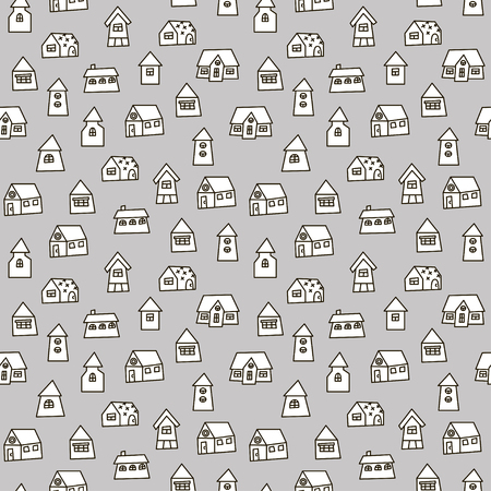 Doodle hand drawn town seamless pattern. Black and white abstract wallpaper. Vector illustration for your cute design.