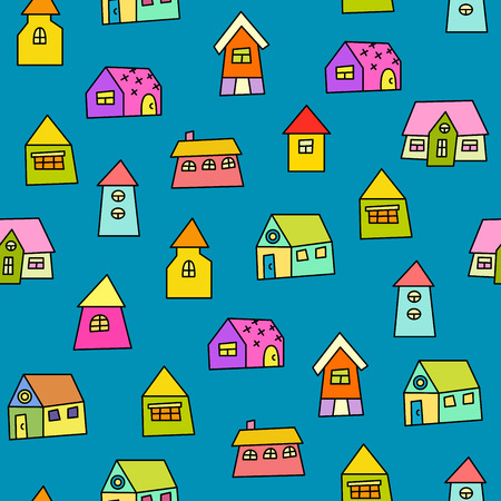 Doodle hand drawn town seamless pattern. Abstract wallpaper. Vector illustration for your cute design.