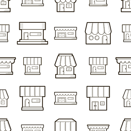 Vector seamless pattern with houses. Texture for wallpaper, fills, web page background.