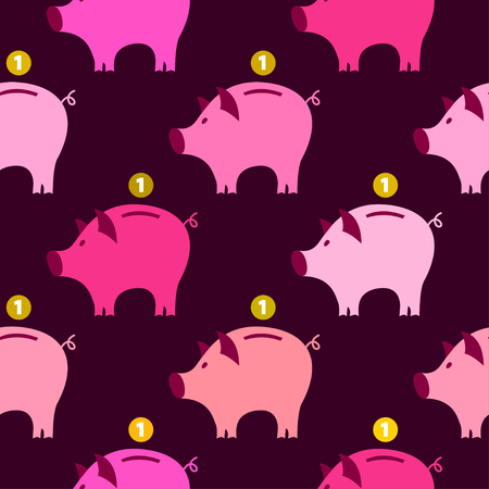 Piggy Bank Seamless Pattern. Can be used for wallpaper, pattern fills, web page background, surface textures.