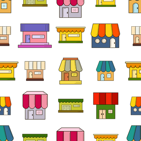 Vector seamless pattern with houses. Texture for wallpaper, fills, web page background. Ilustração