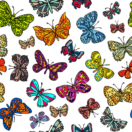 Seamless pattern with butterflies.  Endless texture for wallpaper, fill, web page background, surface texture.